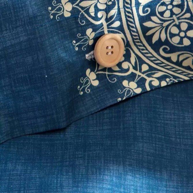 Concise Medallion Blue Background 4-Piece Cotton Duvet Cover Sets