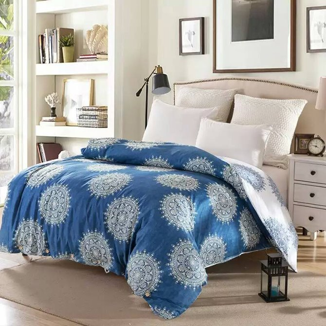 Mandala Pattern Ethnic Style Blue Cotton 4-Piece Bedding Sets/Duvet Cover