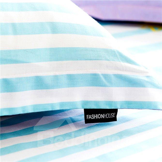 Chic Design Modern Stripe and Letters 4-Piece Cotton Duvet Cover Sets