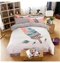 Characteristic Feather Reactive Printing Bullock White 4-Piece Cotton Duvet Cover