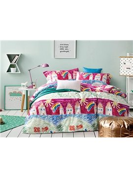 Colorful Sketch House Painting 4-Piece Cotton Duvet Cover Sets
