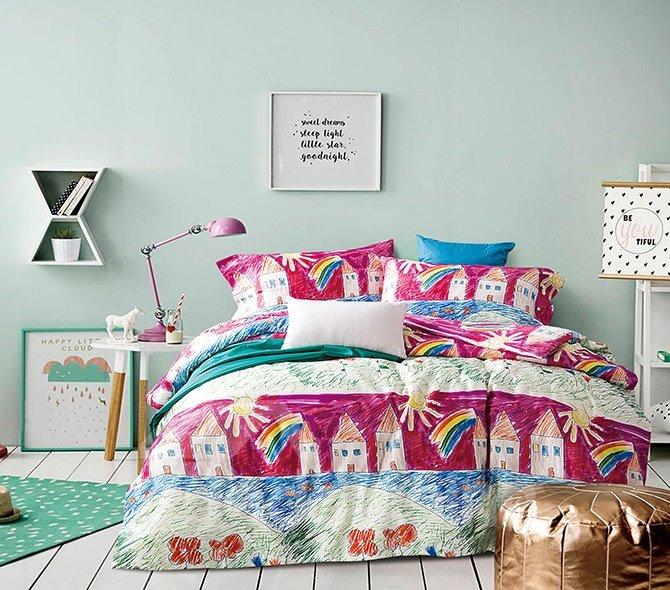 Colorful Sketch House Painting 4-Piece Cotton Duvet Cover Sets