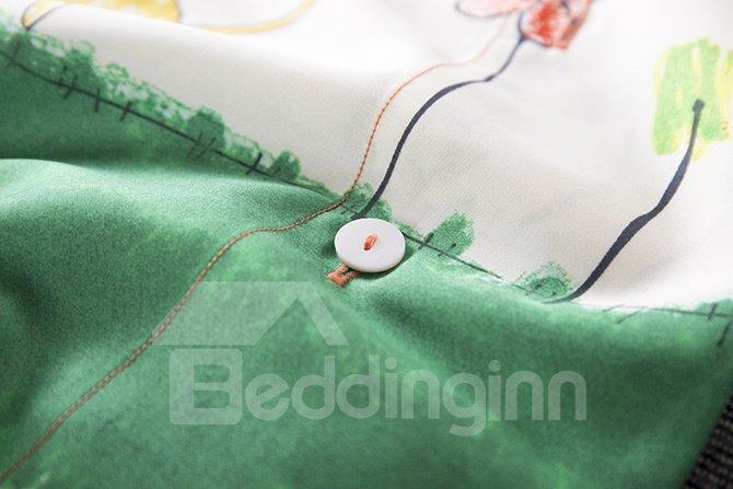 Simple Minimalism Style Unique Pattern 4-Piece Cotton Duvet Cover Sets