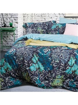 Personality Style Luxury Leaves Reactive Printing 4-Piece Cotton Duvet Cover Sets