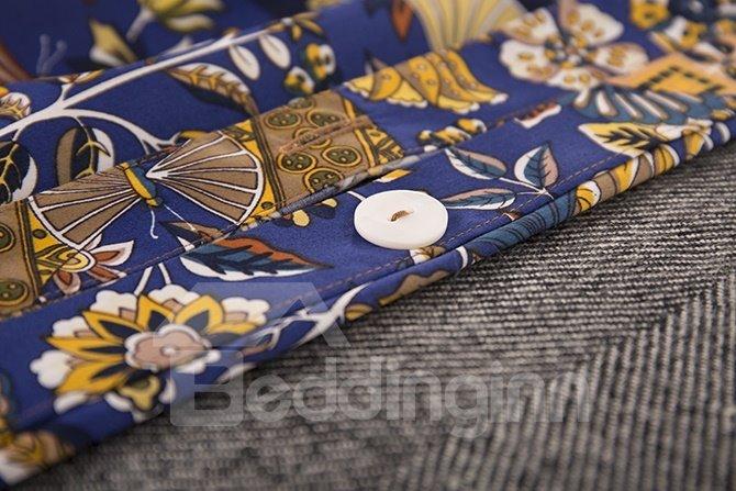 Luxury Style Flourishing Floral Pattern Blue Cotton 4-Piece Bedding Sets/Duvet Cover