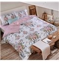 High Class Graceful Floral Pattern 4-Piece Cotton Duvet Cover Sets