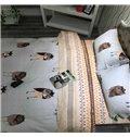 High-grade Comfy Cartoon Owl Reactive Printing 4-Piece Cotton Duvet Cover
