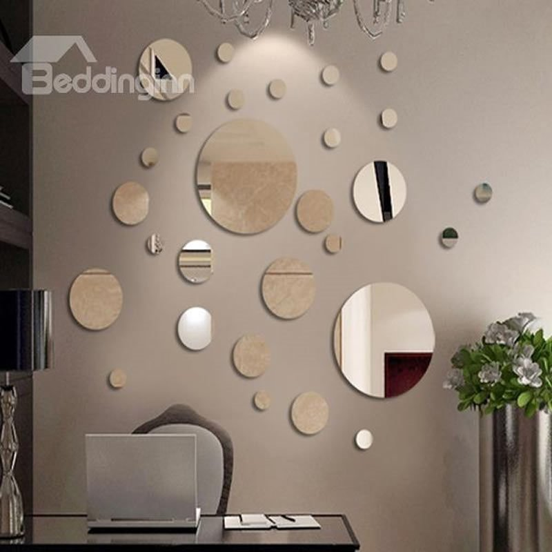 Silver mirror circles polypropylene 3d waterproof wall for Appliqu mural autocollant