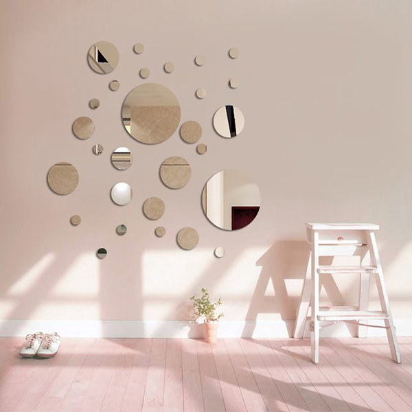 Silver Mirror Circles Polypropylene 3d Waterproof Wall