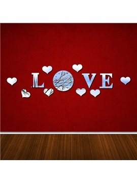 Romantic LOVE Pattern Plastic Mirror Wall Stickers