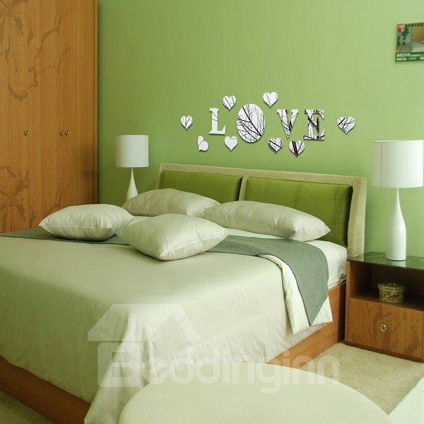 Romantic LOVE Pattern Plastic Mirror Wall Stickers