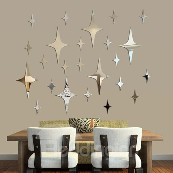 New Arrival Plastic Twinkle Star Silver Mirror Wall Stickers