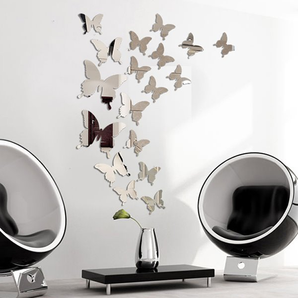 41 Amazing Acrylic Butterfly Pattern Mirror Wall Stickers Part 86