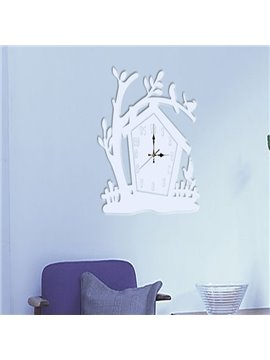 Amazing White Acrylic Tree House Pattern Decorative Wall Stickers