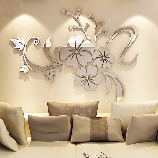 silver/golden mirror flower shape 3d tv and sofa background wall