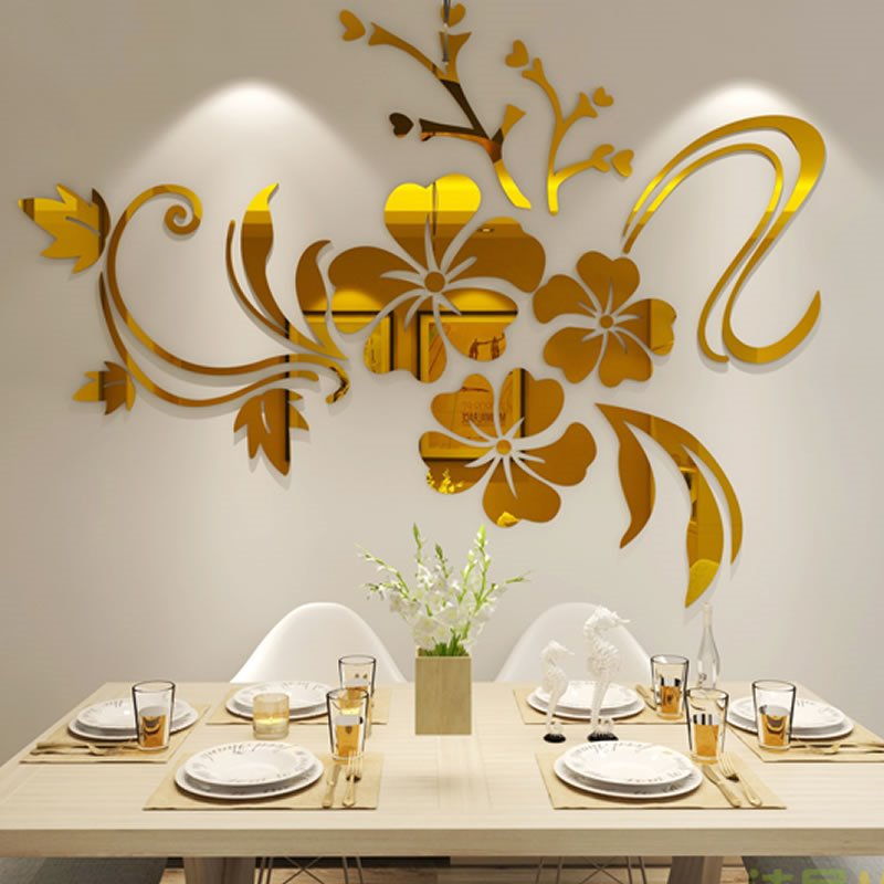 Stunning 3D Tridimensional Mirror Flower Shape TV and Sofa Background Decoration Wall Stickers