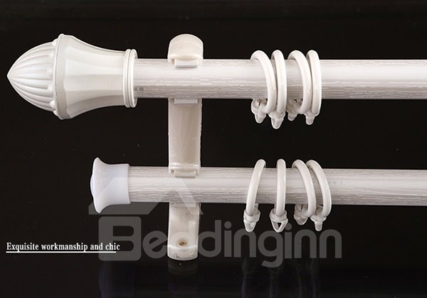 Side Mounted Aluminium Alloy Pearl White Single Double Curtain Rod Set