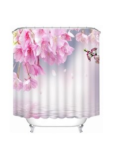 Tender and Lovely Pink Peach Blossoms on the Water Print 3D Bathroom Shower Curtain