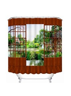Classic Wooden Door and Beautiful Scenery Outdoor Print 3D Bathroom Shower Curtain