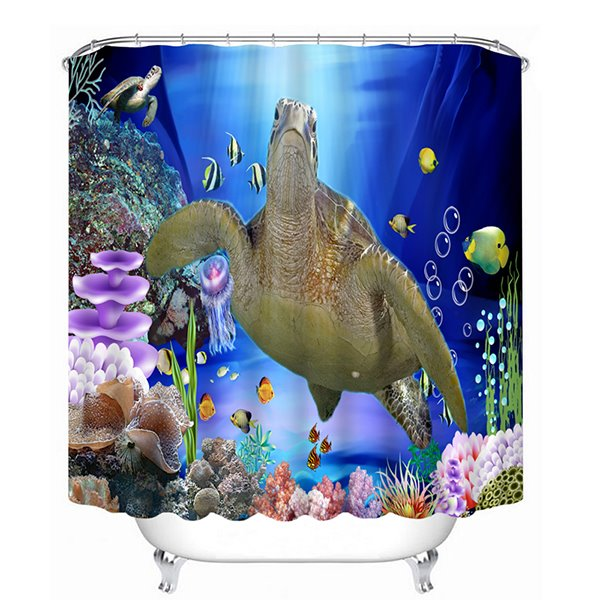 3D Swimming Sea Turtle Printed Polyester Bathroom Shower Curtain