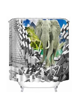 An Elephant Walking Breaking the Wall Print 3D Bathroom Shower Curtain