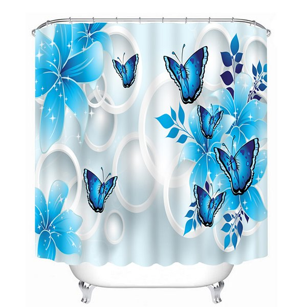 47 Erflies And Flowers Printed Polyester Sky Blue Bathroom Shower Curtain