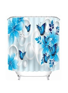 Blue Flowers and Butterflies Print 3D Bathroom Shower Curtain