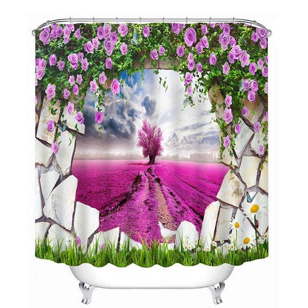 Purple Tree Looking Through the Wall Print 3D Bathroom Shower Curtain