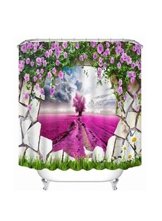 Purple Tree Looking Through the Wall Print 3D Bathroom Shower Curtain