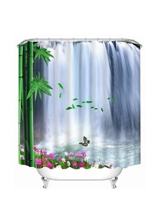 The Beautiful Waterfall and Green Bamboo Print 3D Bathroom Shower Curtain