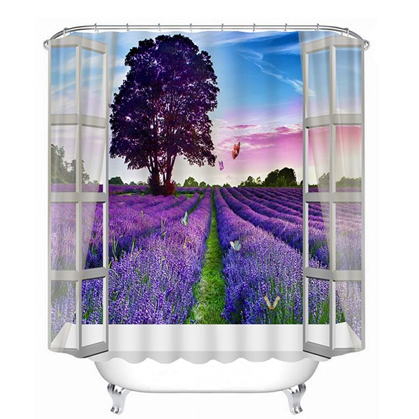 3D Lavender Sea Printed Polyester Purple Shower Curtain