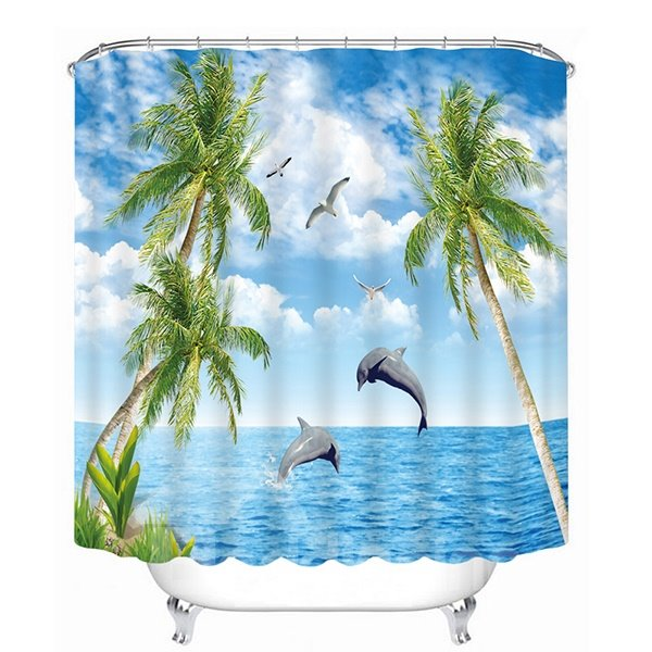 Dolphins Jumping out the Water Print 3D Bathroom Shower Curtain