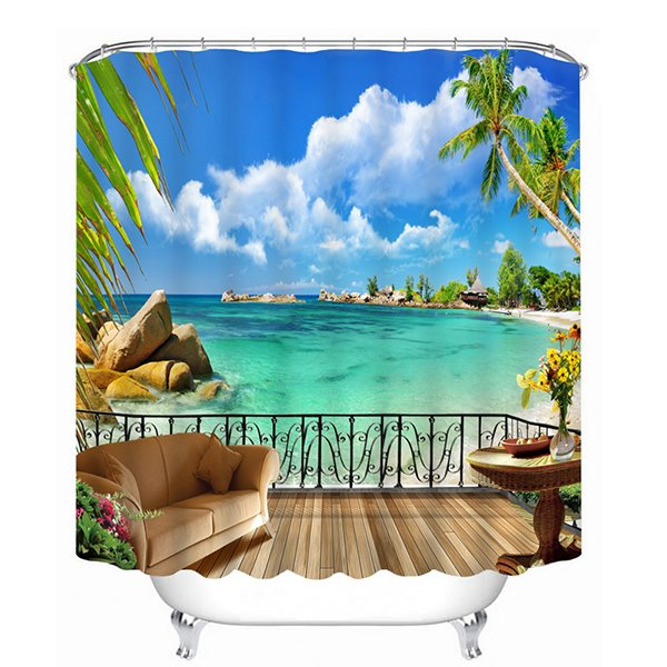 3D Seashore Balcony Printed Polyester Light Blue Shower Curtain ...