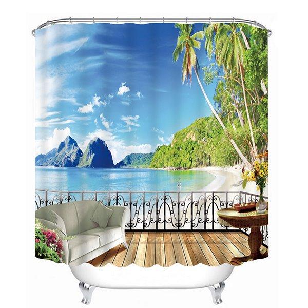 The Beach Scenery out of the Balcony Print 3D Bathroom Shower Curtain