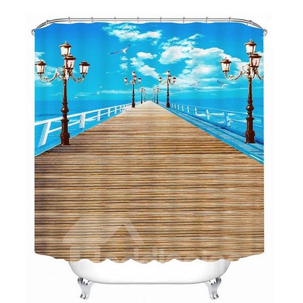 Blue Sky and Long Wooden Bridge Print 3D Bathroom Shower Curtain