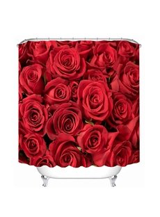 Romantic Red Roses Print 3D Bathroom Shower Curtain