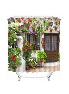 Various Flowers at the Door Print 3D Bathroom Shower Curtain