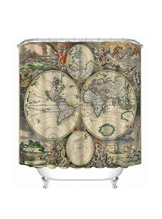 Antique World Map Print 3D Bathroom Shower Curtain