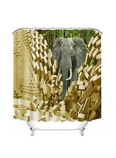 An Elephant Breaking the Wall Print 3D Bathroom Shower Curtain