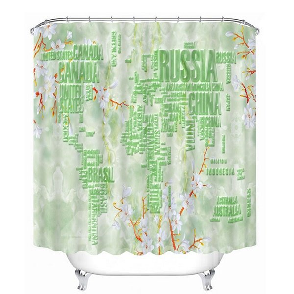Plane Map of the World Print 3D Bathroom Shower Curtain