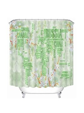 Plane Map of the World Print 3D Bathroom Shower Curtain