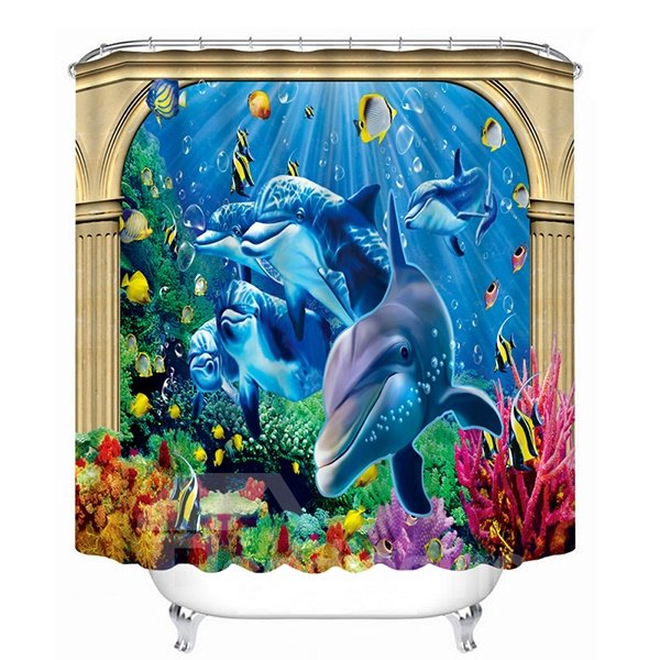 The Adorable Dolphins Print 3D Bathroom Shower Curtain