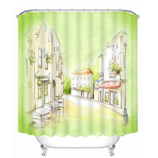 Hand-Painted Street View Print 3D Bathroom Shower Curtain