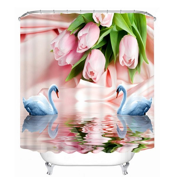 Couple White Swans with Love in front of the Pink Roses Print 3D Bathroom Shower Curtain