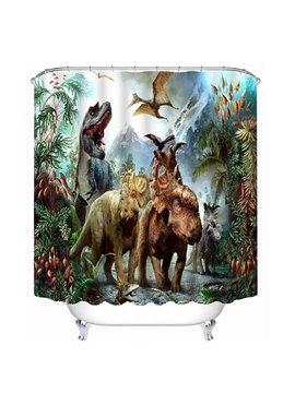 Chic Fiercely Dinosaurs Print 3D Bathroom Shower Curtain