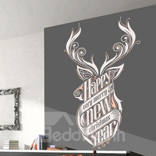 Amusing Happy New Year Pattern Wall Sticker