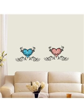 Wonderful Decorative Two Hearts Pattern Wall Stickers