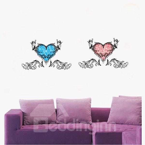 Wonderful Decorative Two Hearts Pattern Wall Stickers