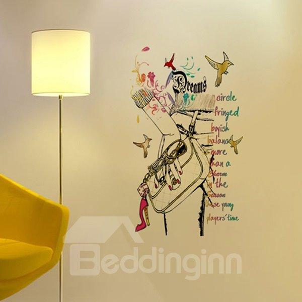 Modern Fashion Handbag and Birds Pattern Wall Sticker