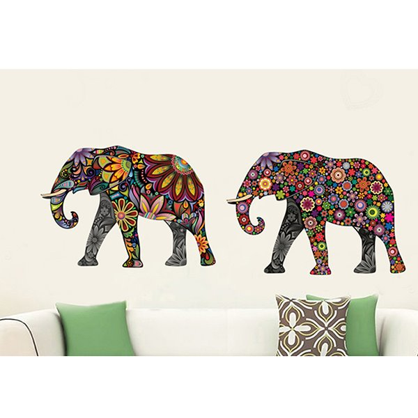 Creative Digital Colorful Elephant Pattern Wall Stickers